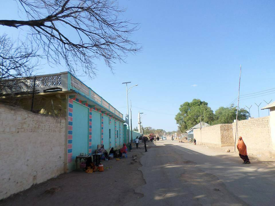 The first solar-powered street lamps are going up in Baidoa.