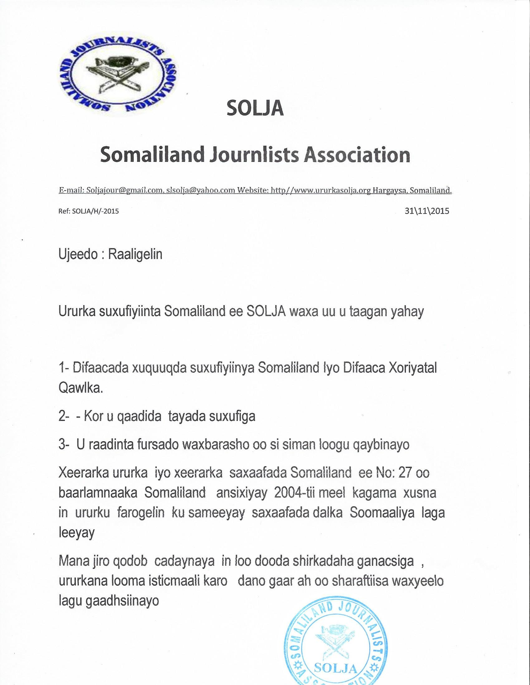 Somaliland:SOLJA apologizes to Dahir Alasow and Omar Faruk after a false statement released