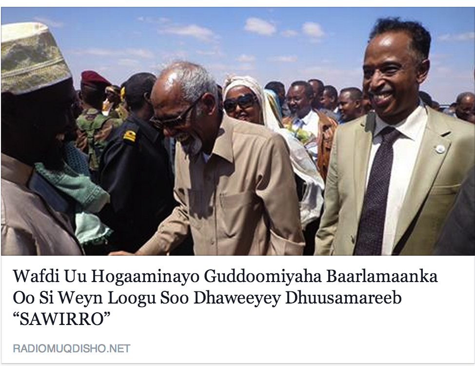 Damul Jadeed division: War of words as MPs Speaker Jawari visits Dusamareb