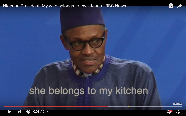 """[Daawo] Madaxweynaha Nigerian oo si adag uga jawaabay fadeexadda Xaaskiisa """"Xaaskeeyga waxeey xukuntaa Jikadda iyo Sariirta Jiifka"""""""