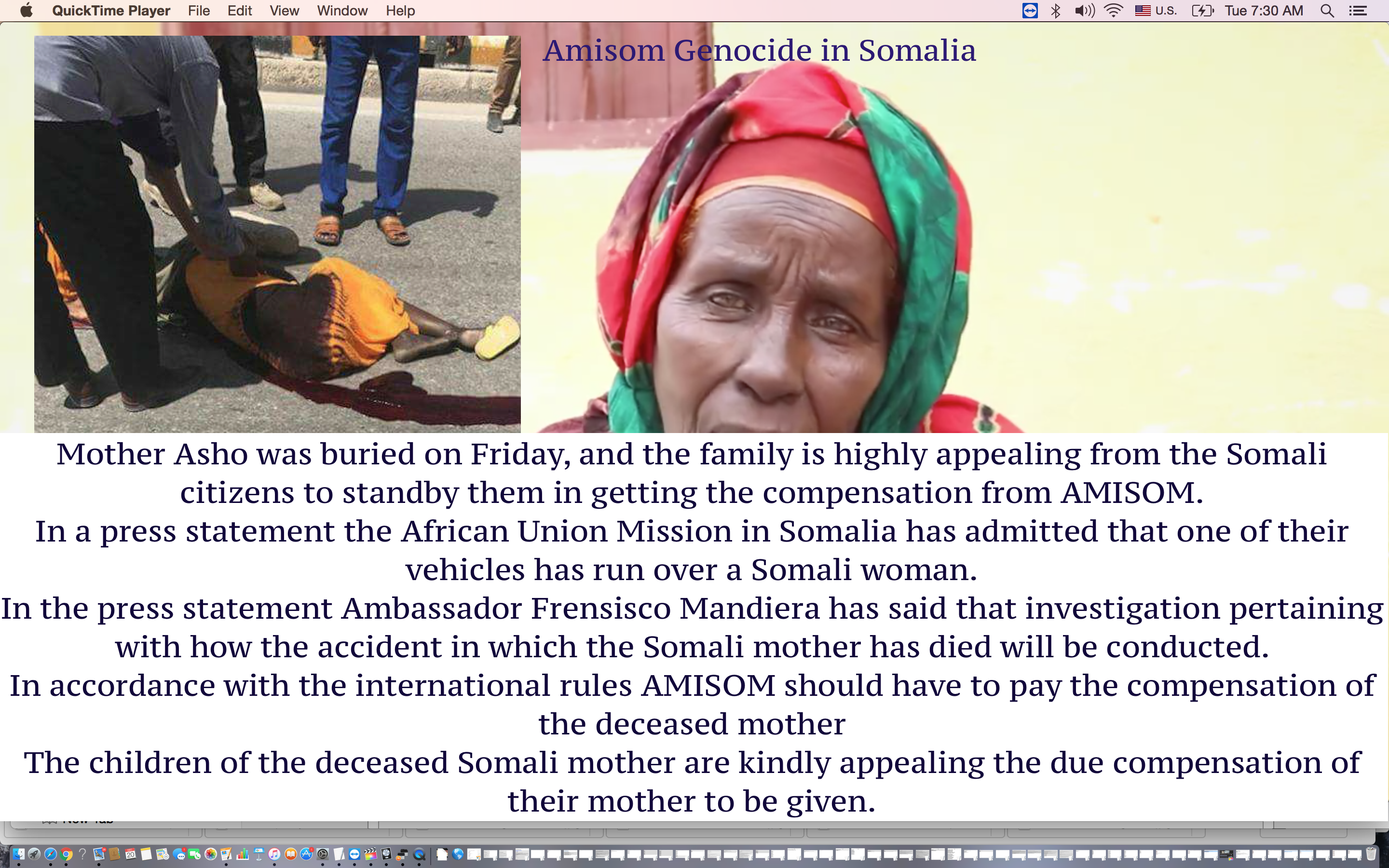 "Amisom Genocide in Somalia ""family of deceased mother"""