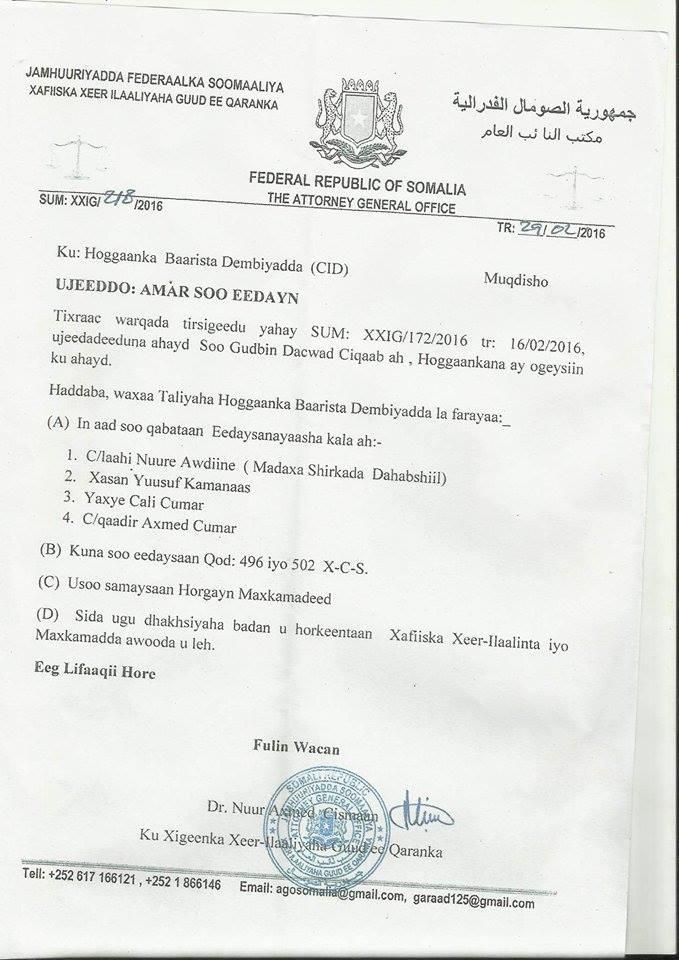 [Topnews]Akhri Xeer ilaaliyaha Dowladda Somalia oo amray in la soo xiro Maamulaha Dahabshiil