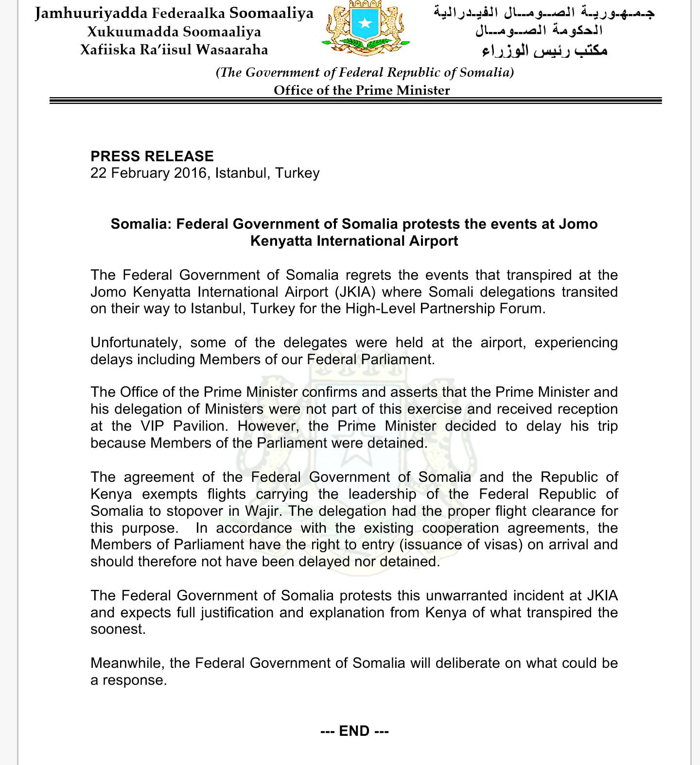 Government of Somalia protests the unwarranted detained at JKIA Airport of Kenya