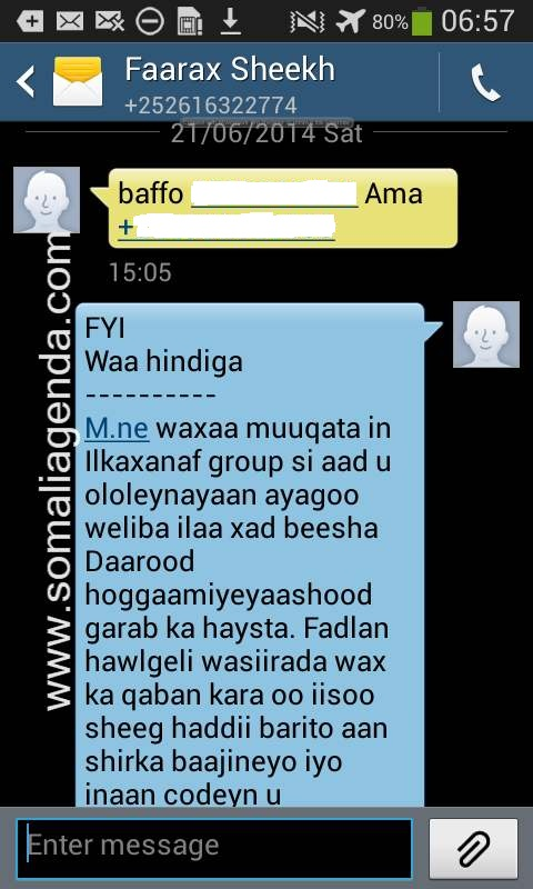 Leaked Conversation between Somali President and Minister Farah Topaz