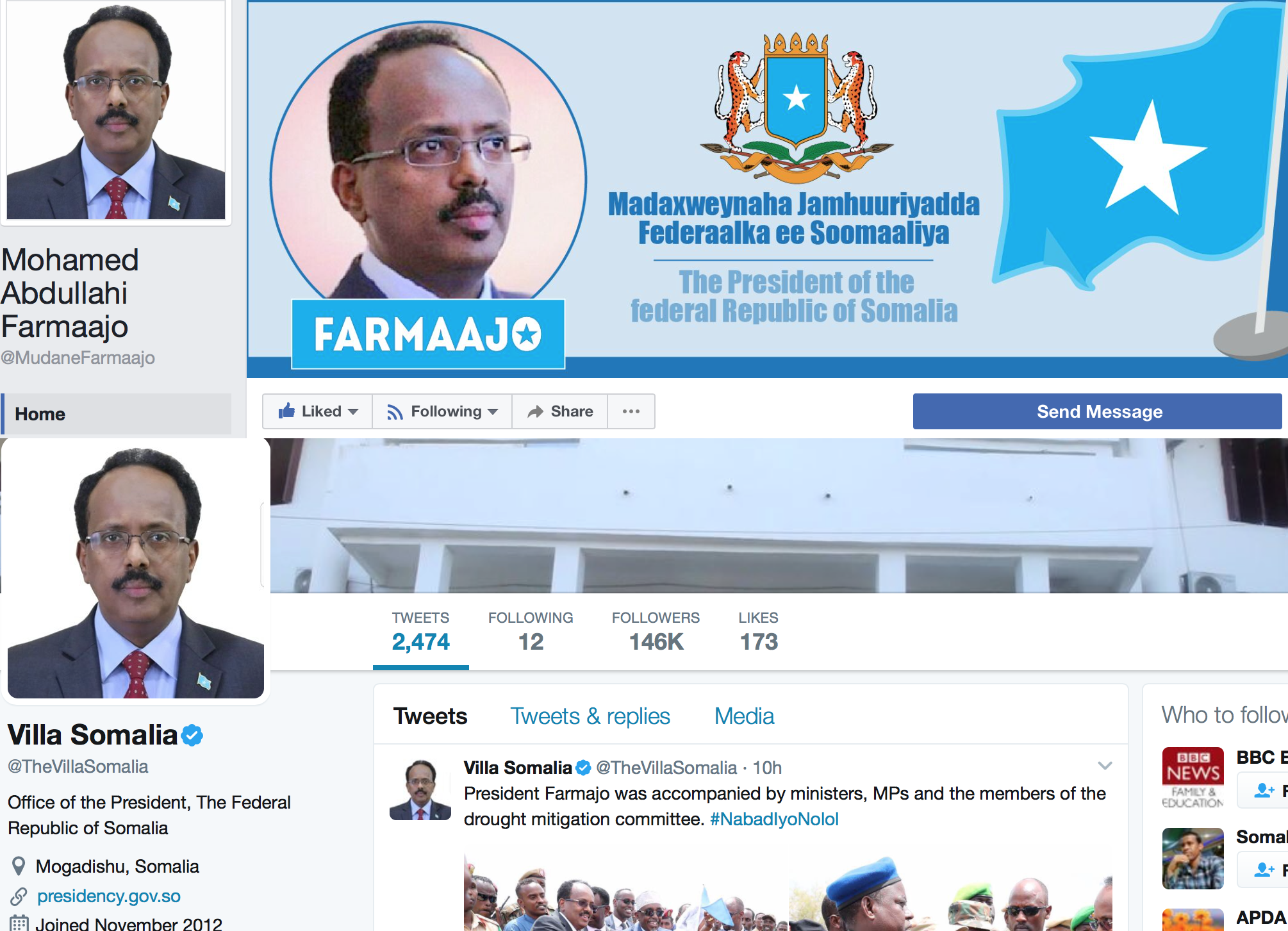 President of twitter and facebook not of Somalia.