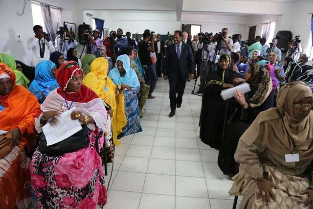 Somalia President applauds Somali women for fighting for the rights of the most vulnerable