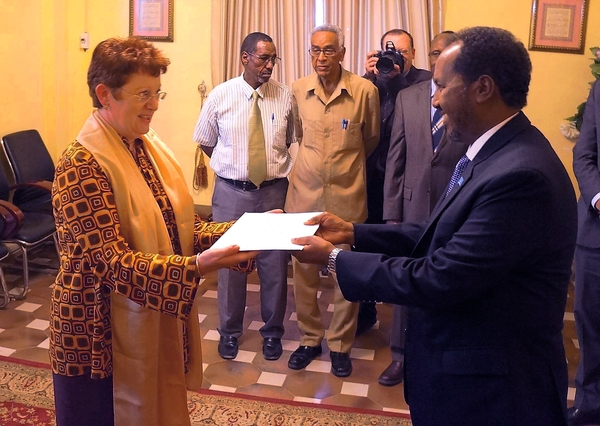 Somali President receives credentials from Germany and Egyptian ambassadors to Somalia