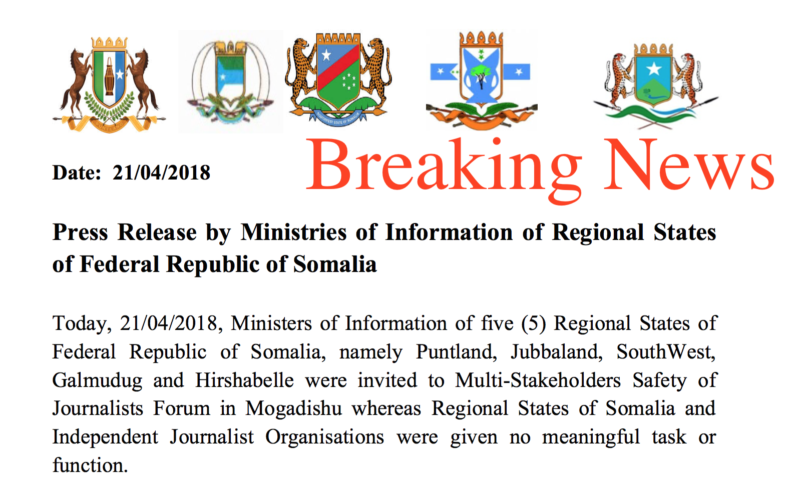 Press Release by Ministries of Information of Regional States of Federal Republic of Somalia